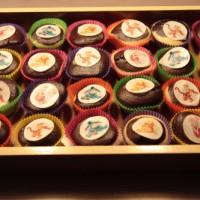 Choco/vanille cupcakes met Pooh